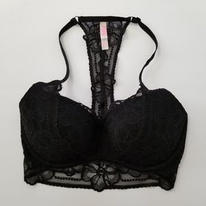 Pink by Victorias Secret Blk Lace Bralette S DD